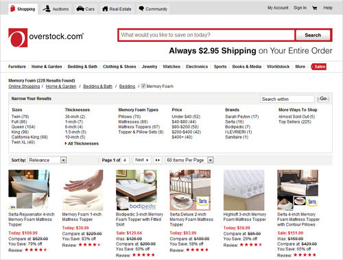 Overstock.com has a giant search box at the top right of the homepage