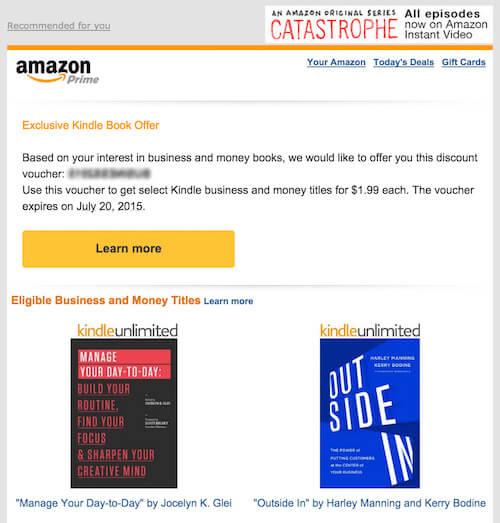 Amazon promo email