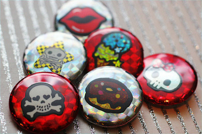 Pins, Badges and Buttons - ★ Sweet Skull 6-Pack ★