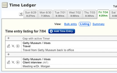 LiveTimer Time Ledger Screenshot