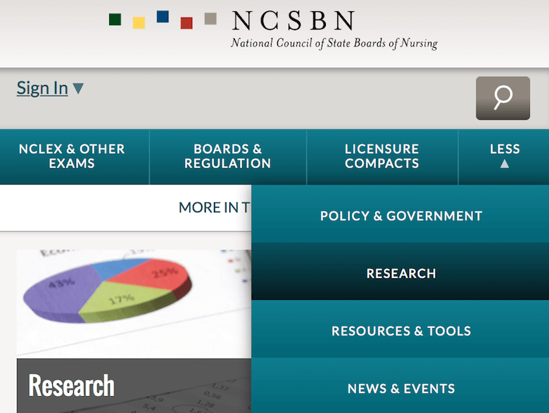 An image of the responsive navigation used on NCSBN website.