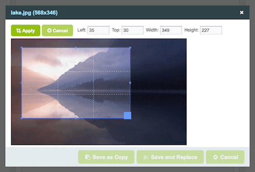 Screenshot of cropping an image.