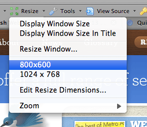 Resize command for Firefox's Web Developer Toolbar
