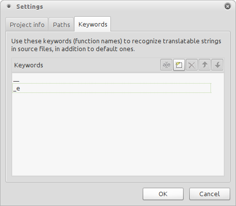 Keywords info tab of Poedit