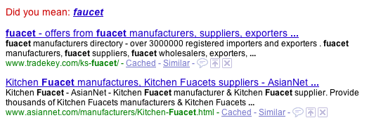 Google checks my spelling for me and links to the correct spelling.