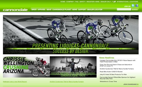 Cannondale Bikes Homepage