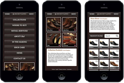 Navigation on the responsive website of Crockett & Jones'