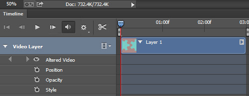 A video layer group in the timeline with the layer properties exposed