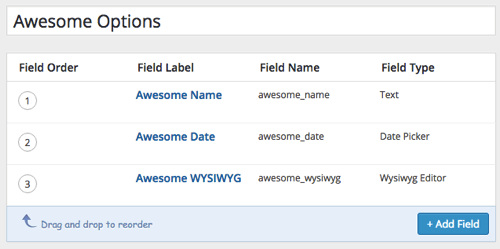 ACF fields configured
