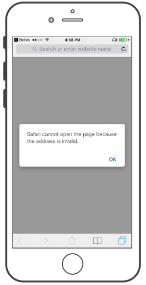 Safari modal error message