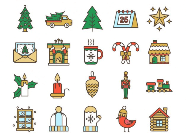 Lovely Christmas Icon Set