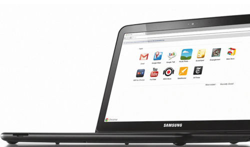 Web technologies can be the native technologies for certain operating systems. Here we have a Samsung laptop running Chrome OS, on which HTML, CSS and JavaScript — and Web applications — are first-class citizens. (Image: Google's promotional image.)