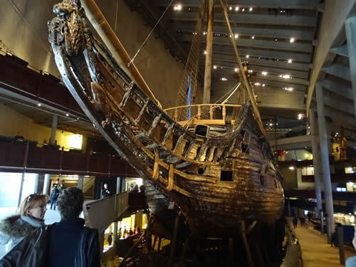 The salvaged Vasa ship in the museum in Stockholm