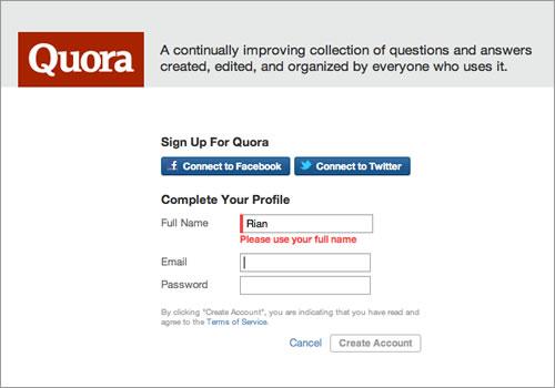 Quora Registration