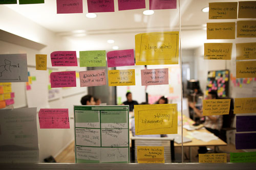 A brainstorming session at IDEO