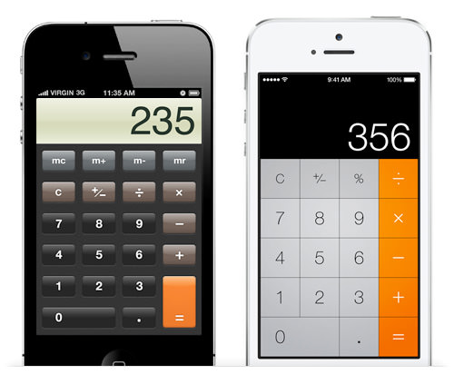 Comparison between Apple's iOS 6 and iOS 7 interfaces