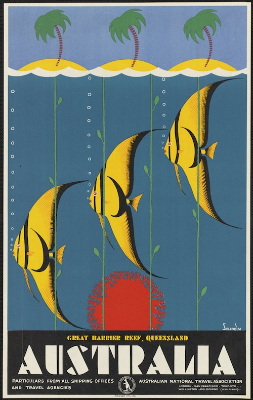 A 1930's travel poster for the Great Barrier Reef, designed by Gert Sellheim.