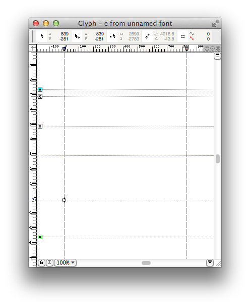 The glyph window in FontLab.