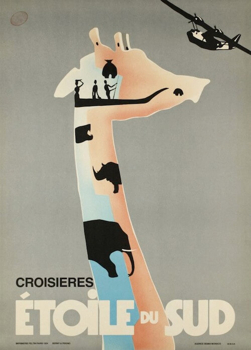 "French poster for the ""South Star Cruises"" from 1969, designed by type foundry Deberny & Peignot."