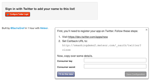 You need to fill in your app's Twitter credentials.