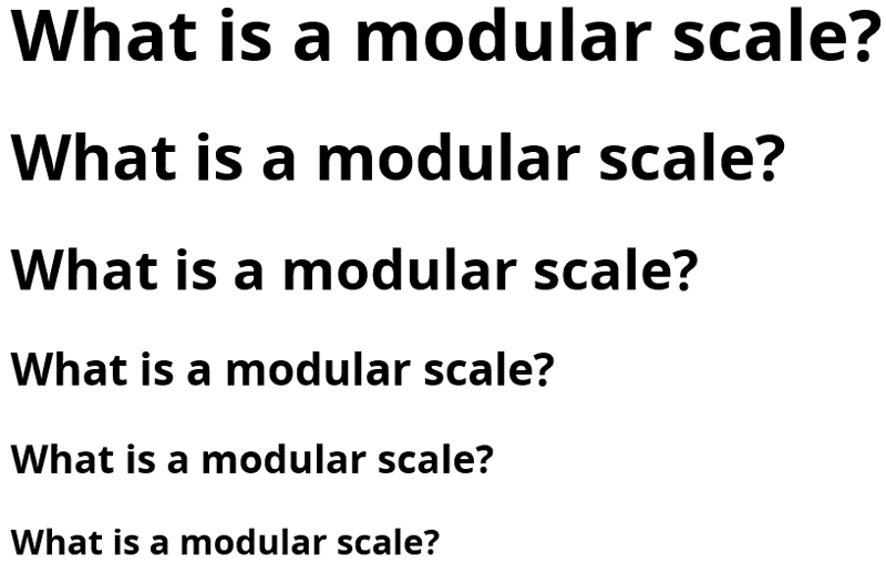 Image Of The Senctence What Is Modular Scale Repeated Six Times But In Different Sizes