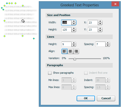 Greeked Text Smart Shape Properties