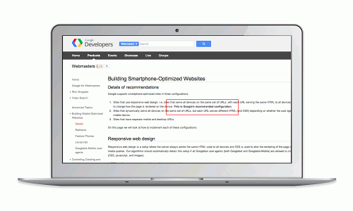 Google recommends responsive Web design for optimal search indexing.