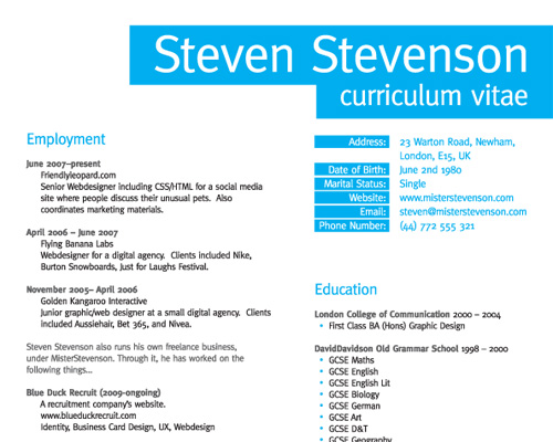niamh redmond makes steve stevensons rsum stand out by choosing a landscape style document with well divided content and good branding - Web Designer Resume Examples