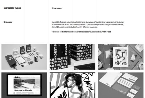 Screenshot from the home page of the Incredible Types website