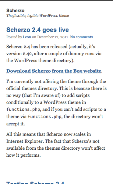 Scherzo on mobile uses the same font styles as the desktop version with a white background and moves the sidebar below the main content. It has less white space than the desktop version.