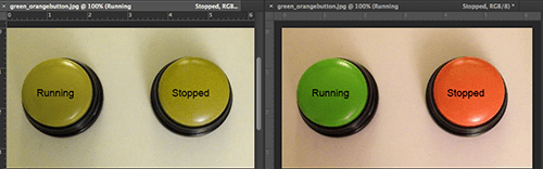 The green and orange buttons are viewed in Photoshop with deuteranopia soft proof and normal (text labels added).