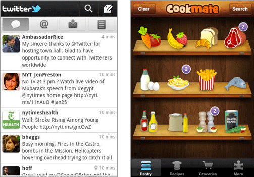 Twitter and Cookmate app