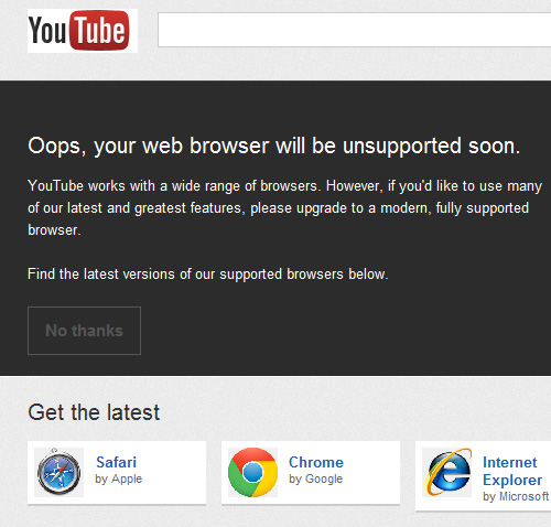 YouTube's message for IE6 users
