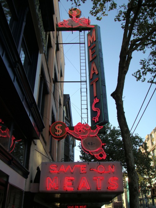 Wayfinding and Typographic Signs - save-on-meat