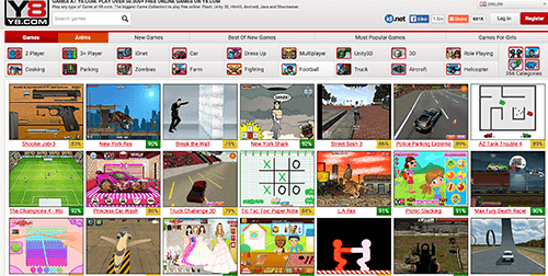 Y8 is a popular gaming website among kids, and it uses large images for navigation