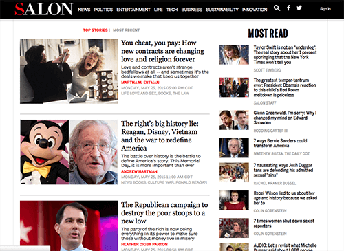 Salon.com articles grouped by their relationships in size differences.