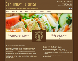 Centenary Lounge website on desktop