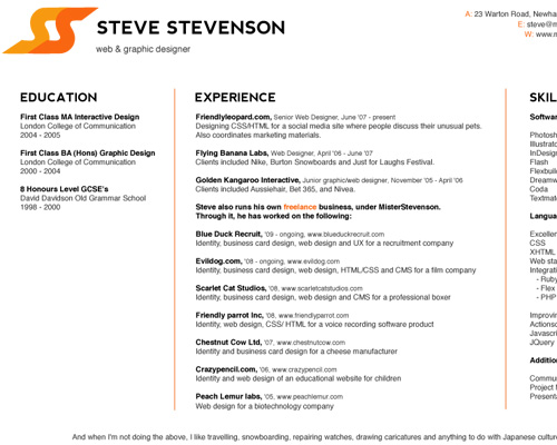 eva lotta lamm chose to keep her rsum simple and typographic the only illustrative element is steves little logo playing with the nice alliteration of - Web Designer Resume Examples