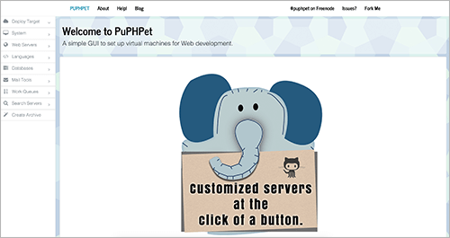 Screenshot of PuPHPet website.