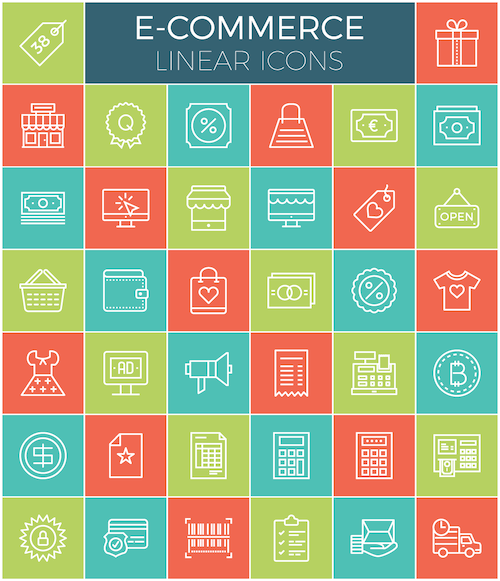 A preview of the E-commerce linear icon set.