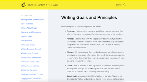 MailChimp's extensive content style guide to writing and content