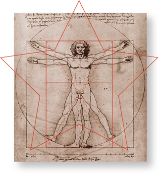 The classic Vitruvian Man by Leonardo da Vinci
