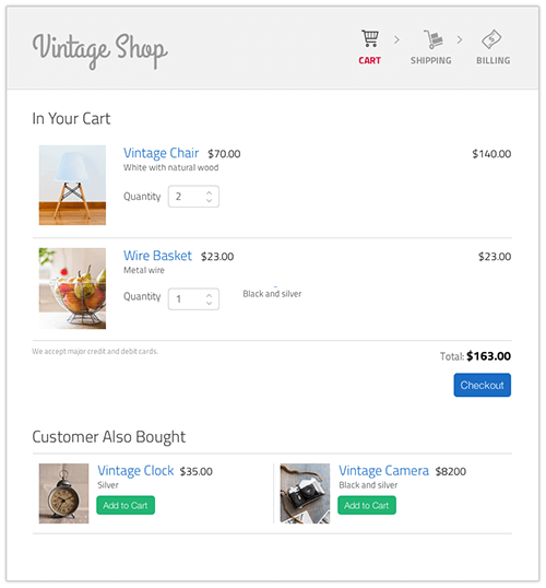 Mockup design of a cart page