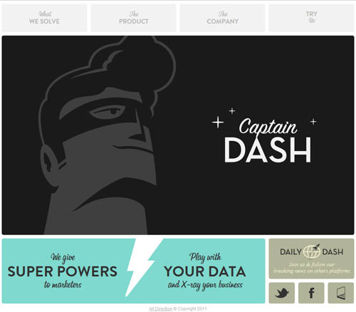 Captain Dash's superhero themed homepage