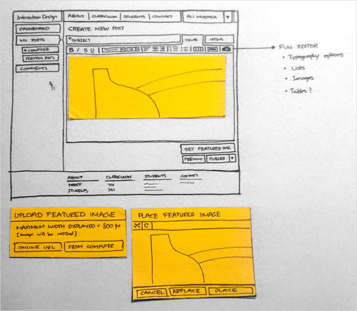 This low-fidelity prototype of a new web design for SCAD's Interaction Design department shows the initial concepts for improving reading and posting interactions.