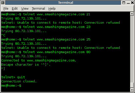 Using telnet to probe www.smashingmagazine.com.