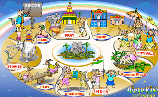 The Hindu Kids Universe website is designed to teach kids about Hindu religious theory