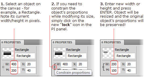The Property Inspector Panel in Fireworks CS5 - Constrain Proportions option
