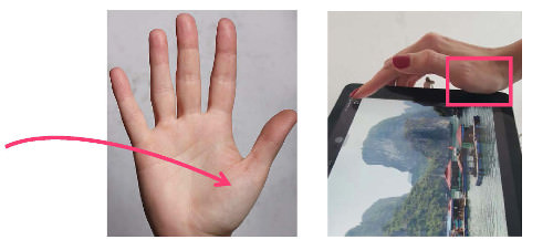 "When pushing the ""Save Image"" button, the metacarpophalangeal joint of the thumb pressed against the device"