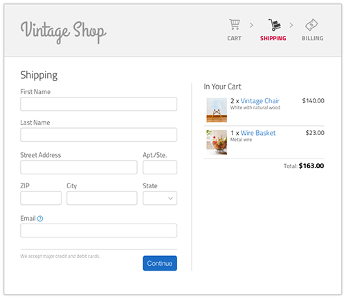 Mockup design of a shipping page